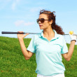 Pretty Female Golfer Relaxing — Stock Photo