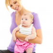 Young beautiful caucasion mom doing baby yoga — Stock Photo
