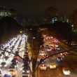 Cars in rush hour with traffic at dawn — Foto Stock