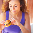 Woman Holding a Mini Burger — Stock Photo