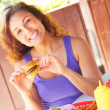 Happy Woman Having Mini Hamburger — Stock Photo