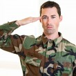 Stock Photo: White male in army uniform saluting