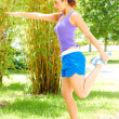 Woman Doing Exercise At Park — Stock Photo