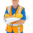 Happy Confident Construction Worker — Stock Photo