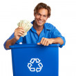 Caucasion Male With Recycle Bin Holding Money — Stockfoto #29919957
