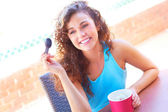 Young Pretty Woman Enjoying Frozen Yogurt — Stock Photo