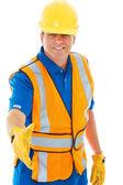 Caucasion budowlane mężczyzna robotnik skrzyżowane uścisk dłoni — Zdjęcie stockowe