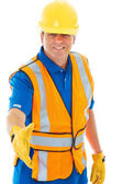 Caucasion male construction worker gesturing handshake — Foto Stock
