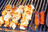 Grilled White Meat On the Barbeque At Market — Stock Photo