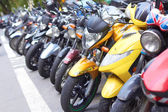 Parked Scooters And Motor Bikes — Stock Photo