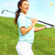 Pretty Playful Female Golfer Having Fun — Stock Photo