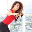 Beautiful Female Doing Resistance Training — Stock Photo