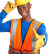 Stock Photo: African-Americmale construction worker shaking hand