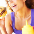 Woman Having Mini Hamburger — Stock Photo