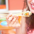Female Eating Sushi — Stock Photo #29920213