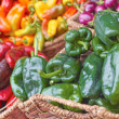 Variety Of Bell And Chilli Peppers For Sale — Foto Stock