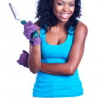 African-American woman holding gardening tool — Stock Photo #29920387