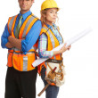 Confident attractive construction workers — Stock Photo