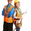 Happy attractive construction workers — Stock Photo