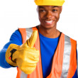African-American male construction worker giving thumbs up — Stock Photo #29920611
