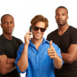 Cell phone security concept with bodyguards — Stock Photo