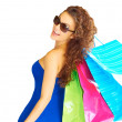 Beautiful Happy Young Woman With Shopping Bags — Stock Photo
