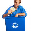 Foto Stock: Caucasion Male With Recycle Bin Holding Money