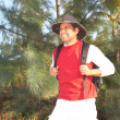 Hispanic Male Hiker Smiling In Forest — Stock Photo