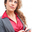 Stock Photo: Beautiful business womholding cellphone text messaging