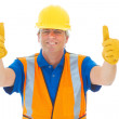 Confident Construction Worker Two Thumbs Up — Stock Photo