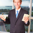 Executive Holding Handful Of Cash — Stock Photo