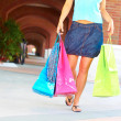 Woman Walking With Shopping Bags — Stock Photo