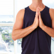 Caucasian male doing yoga prayer pose — Stock Photo