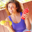 Woman Holding Ketchup And Mustard Bottles — Stock Photo