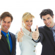 Happy young attractive business team — Stock Photo