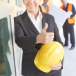 Happy confident business woman giving thumbs up — Stock Photo