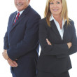 Foto Stock: Mature Caucasion business male and female