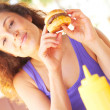 Woman Holding Mini Burger — Stock Photo