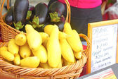 Summer Squash In Basket For Sale — Stock Photo