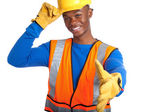 African-American male construction worker shaking hand — Stock Photo