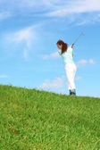 Dişi golfçü — Stok fotoğraf
