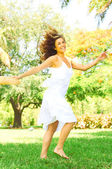 Playful Woman Dancing In Park — Stock Photo