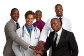 Happy doctor and business men isolated on white background — Stock Photo