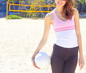 Young Woman Holding Volleyball — Stock Photo