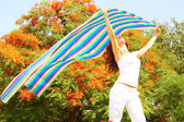 Female Holding Colorful Cloth — Stock Photo