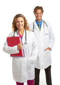 Happy young attractive doctor and nurse — Stock Photo