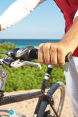 Man Holding Bicycle Handlebar — Stock Photo