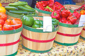 Fresh Vegetables In Buckets For Sale — Stock Photo