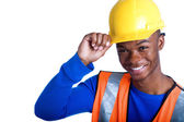 African-American male construction worker tipping his hardhat — Stock Photo