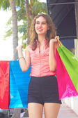Smiling Fashionable Woman With Shopping Bags — Stockfoto